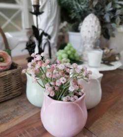Lille rosa tulipanformet potteskjuler/vase H: 11 cm.  - 1