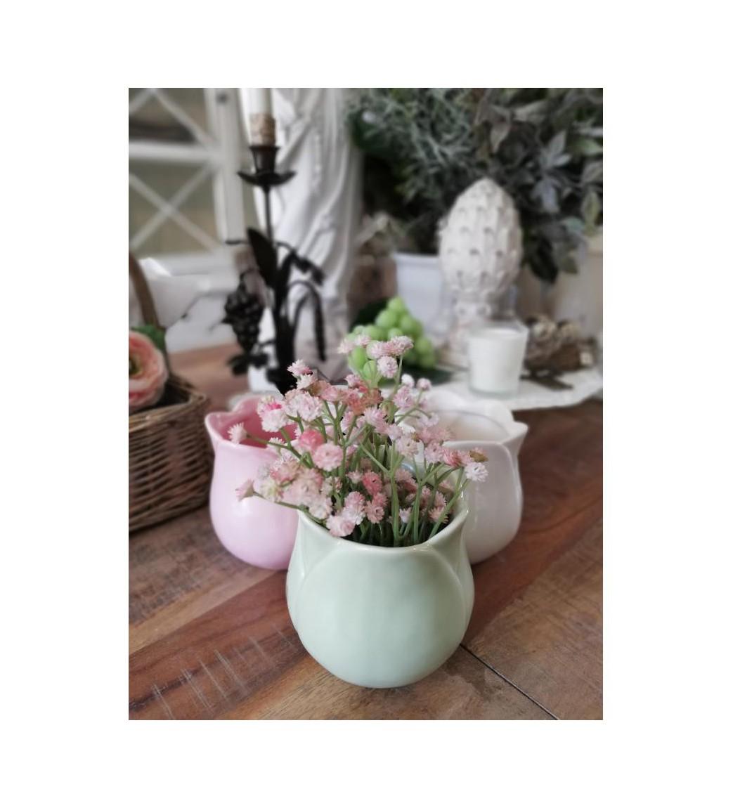 Lille mintgrøn tulipanformet potteskjuler/vase H: 11 cm.  - 1