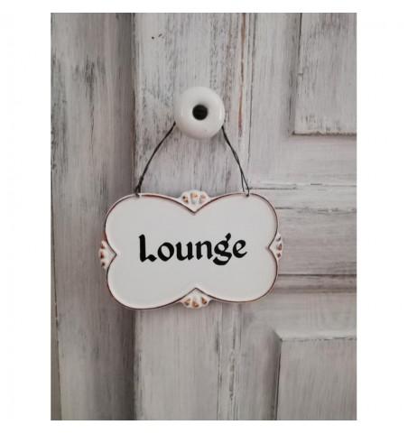 Hvidt skilt Lounge i metaltråd 7,5x12 cm.  - 1