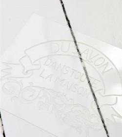 Stencil med fransk tekst 20,7x27 cm. (Du Savon..)  - 3