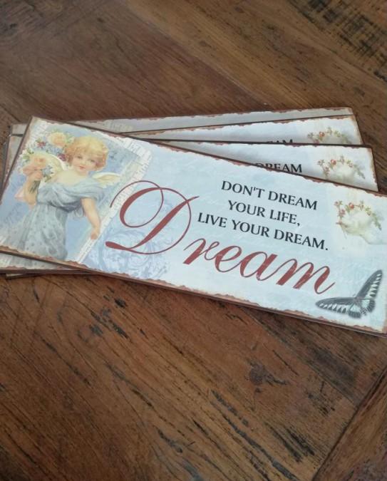 Blåt skilt Don´t dream your life, live your dream 15x39,5 cm. - 1