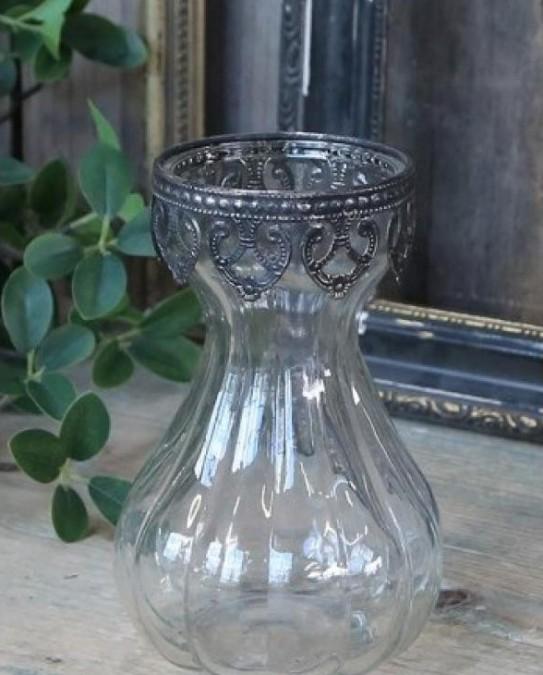 Glasvase med sølvdecor på kanten H: 14,5 cm.  - 1