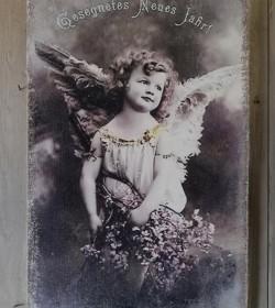 Canvasbillede med engel 26,5x42,5 cm.  - 1