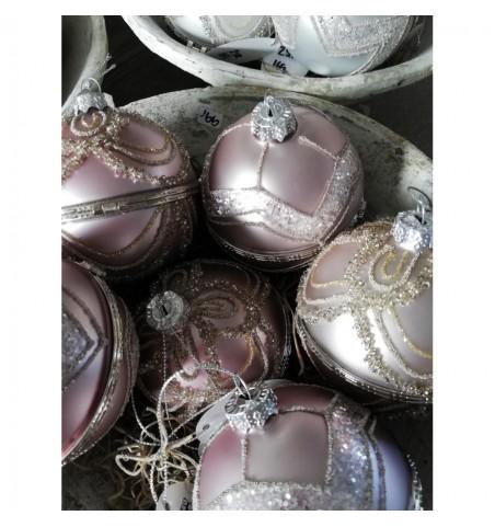 Sæt med 2 stk. lyslilla julekugler med låg Ø: 8 cm.  - 2