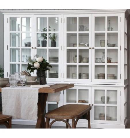 Stort hvidt vitrineskab med 8 glaslåger H: 195 cm.  - 1