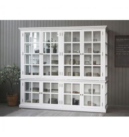 Stort hvidt vitrineskab med 8 glaslåger H: 195 cm.  - 3