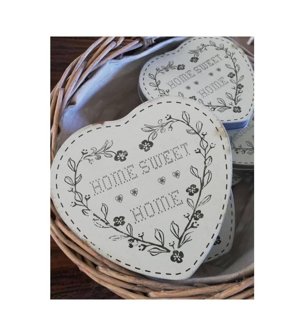 Hvid hjerteformet dåse Home  - 1