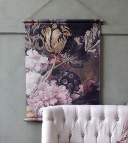 Lærred med blomsterprint 76x97 cm. (Douchede farver) - 1