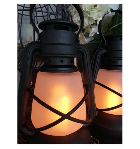 Sort stald lanterne i plast med LED H: 22 cm. pr. stk.  - 2