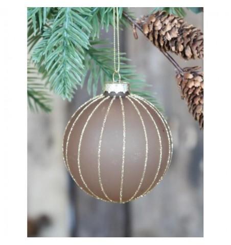 Julekugle karamel med guldstriber Ø: 8 cm.  - 1