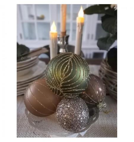 Julekugle karamel med guldstriber Ø: 8 cm.  - 2