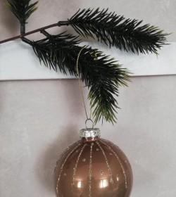 Julekugle lys mocca med glasur Ø: 8 cm.  - 1