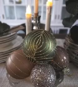 Julekugle lys mocca med glasur Ø: 8 cm.  - 2