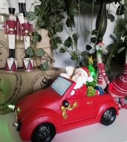 Rød julebil med LED-lys L: 20 cm.  - 1