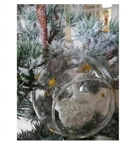 Julekugle i glas med svane og guld stjerner Ø: 8 cm.  - 3