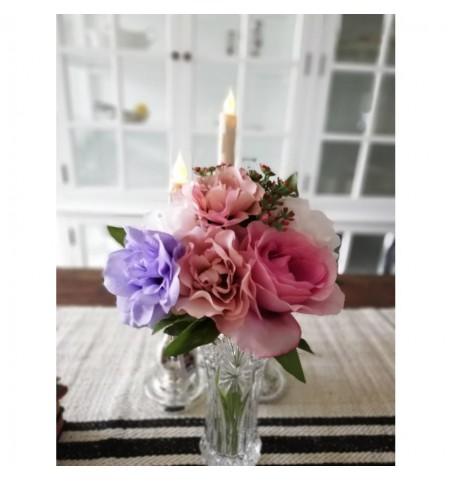 Kunstig buket mix rosa, lilla og pink H: 28 cm.  - 1