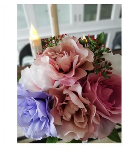 Kunstig buket mix rosa, lilla og pink H: 28 cm.  - 2