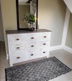 Tæppe sort/grå/beige i læder 70x140 cm.  - 1