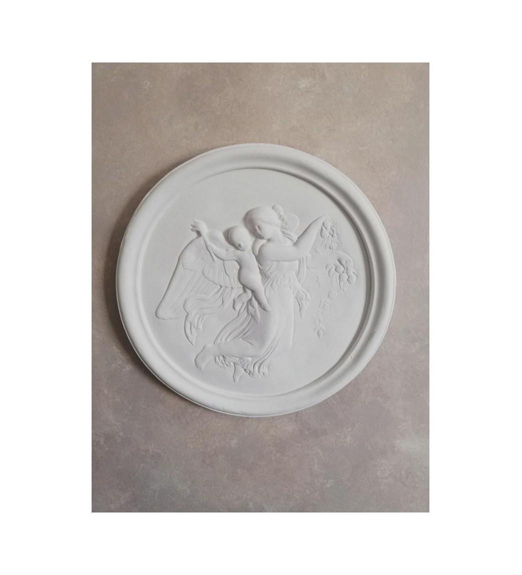 Relief i gips engel med barn på ryggen Ø: 37 cm.  - 1