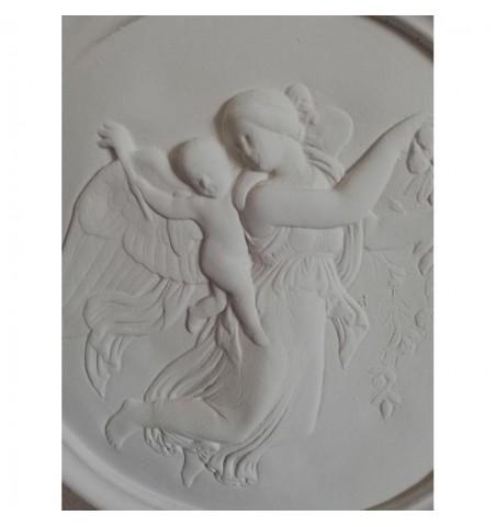 Relief i gips engel med barn på ryggen Ø: 37 cm.  - 2