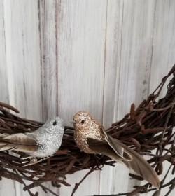 Lille fugl med clips sølv L: 7,5 cm.  - 2