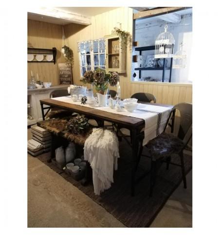 Tæppe gråt/sort/brunt 150x240 cm. i læder/bomuld - 2