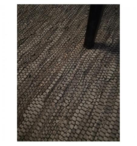 Tæppe gråt/sort/brunt 150x240 cm. i læder/bomuld - 3