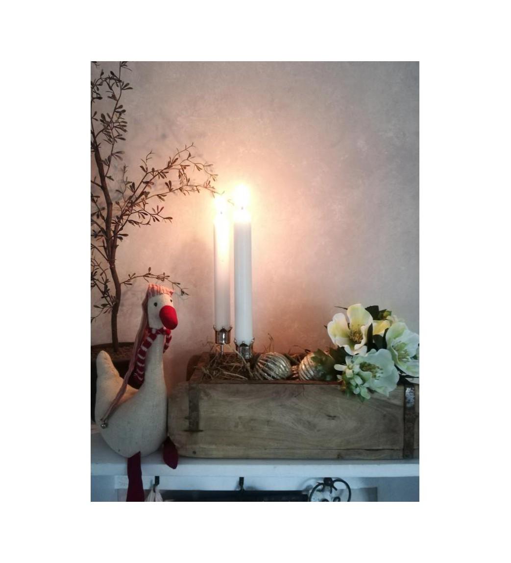 Sølvfarvet lysspyd med krone H: 12,5 cm. pr. stk.  - 1