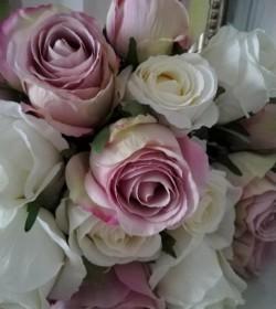 Kunstig sart rosa rose L: 50 cm. pr. stk.  - 2