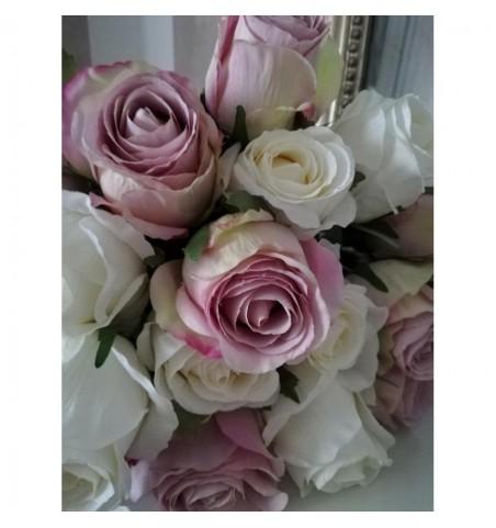 Kunstig hvid rose L: 50 cm. pr. stk.  - 2