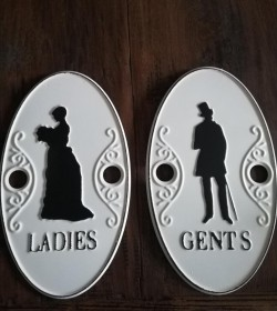 Sæt 2 skilte Ladies & Gents 15x26 cm.  - 1