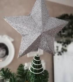 Sølvglimmer topstjerne til juletræ Ø: 26 cm. - 1