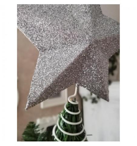 Sølvglimmer topstjerne til juletræ Ø: 26 cm. - 2