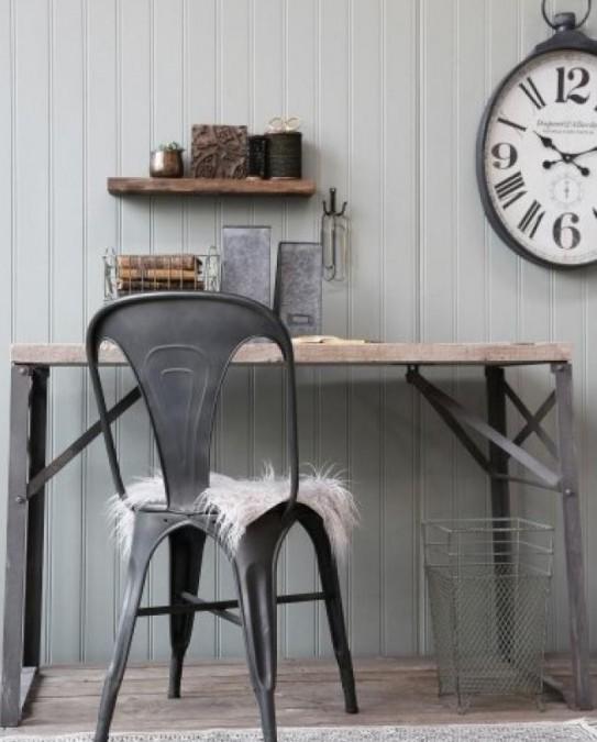 Skrivebord med rå plade og jernstel L: 120 cm.  - 1