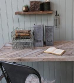 Skrivebord med rå plade og jernstel L: 120 cm.  - 2