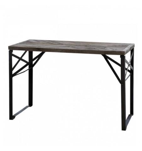 Skrivebord med rå plade og jernstel L: 120 cm.  - 4