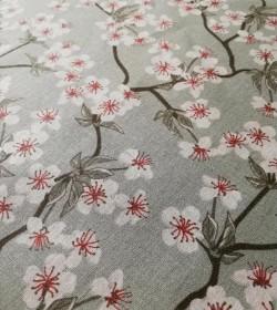 Støvet grønt stof med kirsebærblomster pr. meter - 2