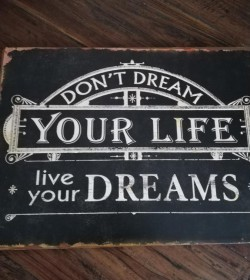 Sort skilt Don´t dream your life...26x35 cm.  - 1