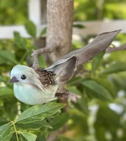 Fugl med clips mint L: 14 cm.  - 1
