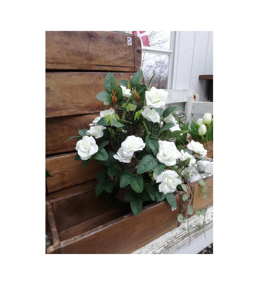 Kunstige hvide roser i potte H: 34 cm.  - 1