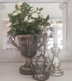Kunstige hvide roser i potte H: 34 cm.  - 4