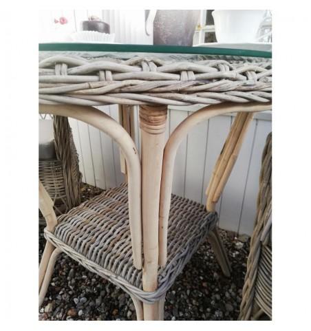 Rundt gråt fletbord i rattan med glasplade Ø: 80 cm. (uden stole) - 3
