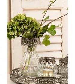 Fyrfadsstage i glas med sølv bladkant H: 7,5 cm.  - 1
