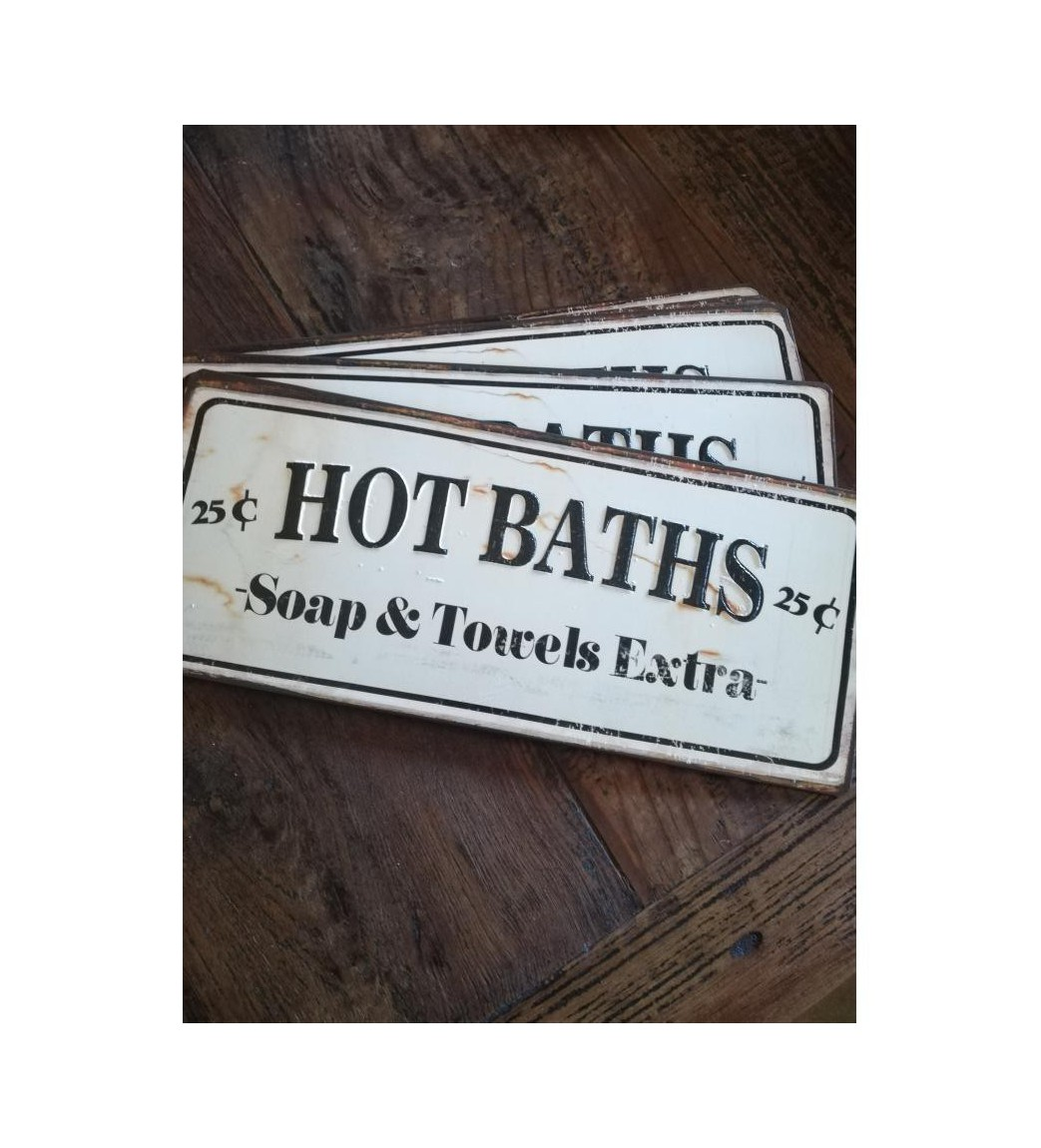 Skilt Hot baths... 13x31 cm.  - 1