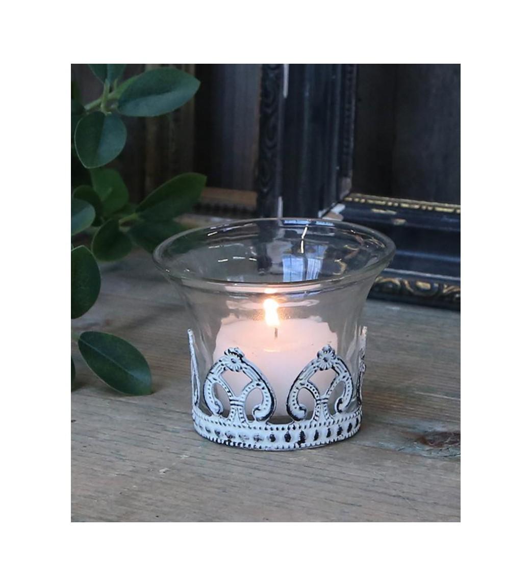 Fyrfadsstage i glas med creme decor H: 5,5 cm.  - 1