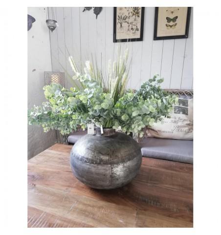Stor rund vase i jern H: 32 cm. (varierer) - 1