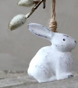 Lille antikhvid kanin til ophæng H: 7 cm.  - 1