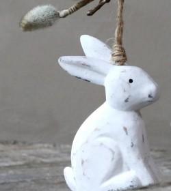 Antikhvid kanin til ophæng H: 10 cm.  - 1