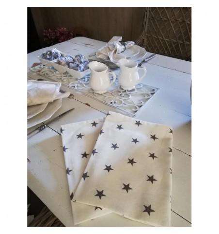 Hvide viskestykker med mørkegrå stjerner 2 stk.  - 2