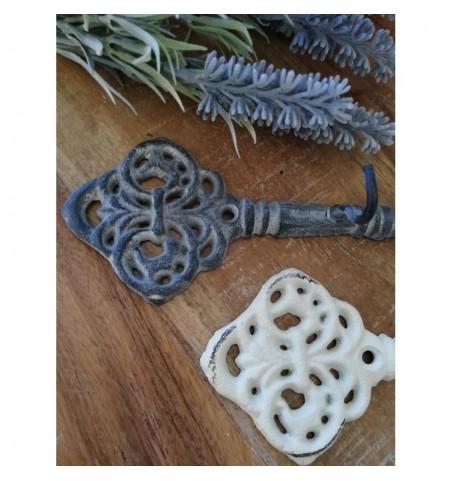 Antikzink nøgle med 3 kroge L: 16,5 cm.  - 2